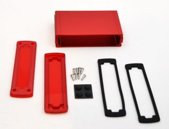 Extruded Aluminum Enclosure Red with Plastic Cover EXN-23359-RDP