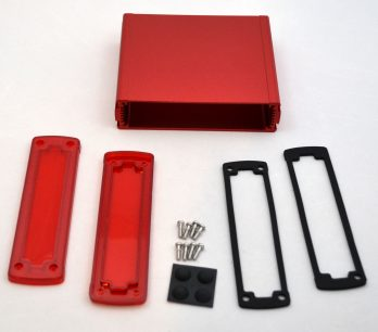 Extruded Aluminum Enclosure Red with Plastic Cover EXN-23360-RDP