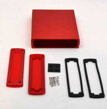 Extruded Aluminum Enclosure Red with Plastic Cover EXN-23361-RDP