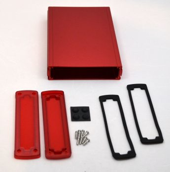 Extruded Aluminum Enclosure Red with Plastic Cover EXN-23362-RDP