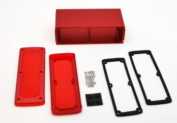 Extruded Aluminum Enclosure Red with Plastic Cover EXN-23363-RDP