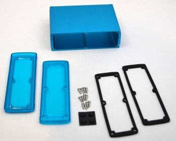 Extruded Aluminum Enclosure Blue with Plastic Cover EXN-23364-BLP