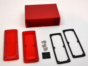 Extruded Aluminum Enclosure Red with Plastic Cover EXN-23364-RDP