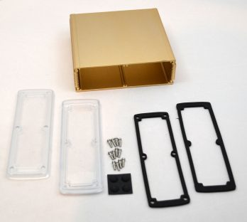 Extruded Aluminum Enclosure Gold with plastic cover EXN-23365-GDP