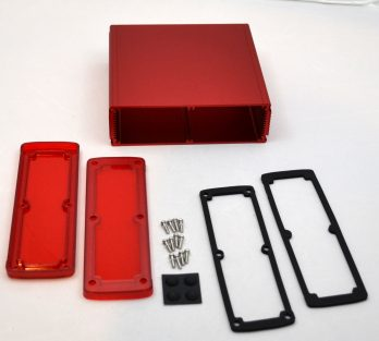 Extruded Aluminum Enclosure Red with Plastic Cover EXN-23365-RDP
