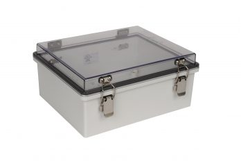 Fiberglass Box with Self-Locking Latch and Clear Cover PTH-22422-C closed