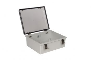 Fiberglass Box with Self-Locking Latch and Clear Cover PTH-22422-C open