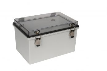 Fiberglass Box with Self-Locking Latch and Clear Cover PTH-22426-C closed