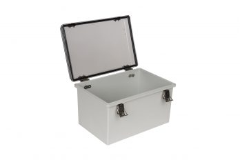 Fiberglass Box with Self-Locking Latch and Clear Cover PTH-22426-C open