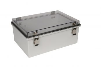 Fiberglass Box with Self-Locking Latch and Clear Cover PTH-22428-C closed