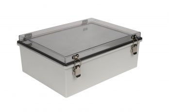 Fiberglass Box with Self-Locking Latch and Clear Cover PTH-22430-C closed