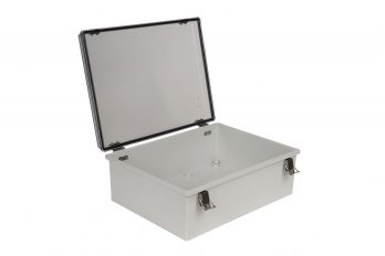 Fiberglass Box with Self-Locking Latch and Clear Cover PTH-22430-C open
