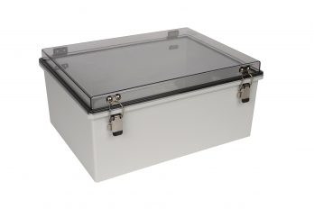 Fiberglass Box with Self-Locking Latch and Clear Cover PTH-22432-C closed