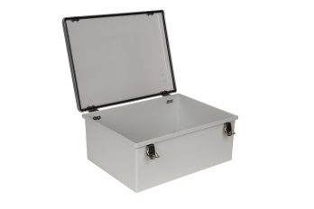 Fiberglass Box with Self-Locking Latch and Clear Cover PTH-22432-C open