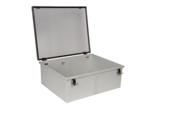 Fiberglass Box with Self-Locking Latch and Clear Cover PTH-22438-C open