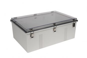 Fiberglass Box with Self-Locking Latch and Clear Cover PTH-22440-C closed