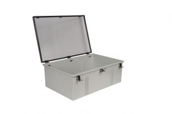 Fiberglass Box with Self-Locking Latch and Clear Cover PTH-22440-C open