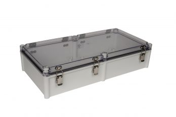 Fiberglass Box with Self-Locking Latch and Clear Cover PTH-22458-C closed