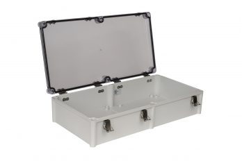 Fiberglass Box with Self-Locking Latch and Clear Cover PTH-22458-C open