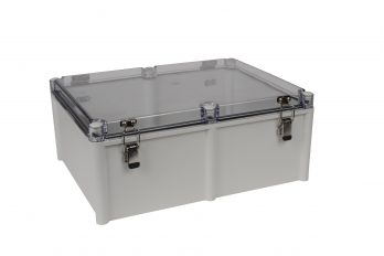 Fiberglass Box with Self-Locking Latch and Clear Cover PTH-22460-C closed
