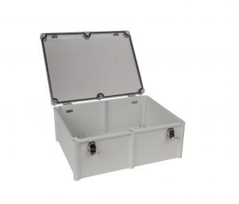 Fiberglass Box with Self-Locking Latch and Clear Cover PTH-22460-C open