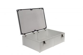 Fiberglass Box with Self-Locking Latch and Clear Cover PTH-22462-C open