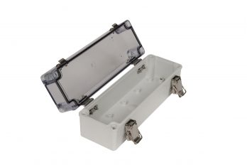 Fiberglass Box with Self-Locking Latch and Clear Cover PTH-22480-C open