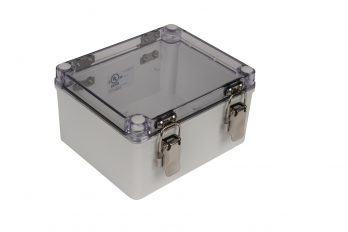 Fiberglass Box with Self-Locking Latch and Clear Cover PTH-22490-C closed