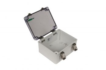 Fiberglass Box with Self-Locking Latch and Clear Cover PTH-22490-C open