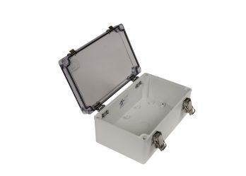 Fiberglass Box with Self-Locking Latch and Clear Cover PTH-22492-C open
