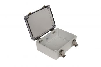 Fiberglass Box with Self-Locking Latch and Clear Cover PTH-22496-C open
