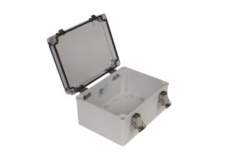 Fiberglass Box with Self-Locking Latch and Clear Cover PTH-22498-C open