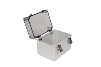 Fiberglass Box with Self-Locking Latch and Clear Cover PTH-22502-C open