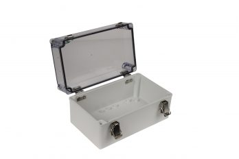 Fiberglass Box with Self-Locking Latch and Clear Cover PTH-22506-C open