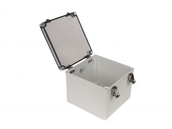 Fiberglass Box with Self-Locking Latch and Clear Cover PTH-22510-C open