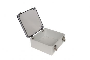 Fiberglass Box with Self-Locking Latch and Clear Cover PTH-22512-C open