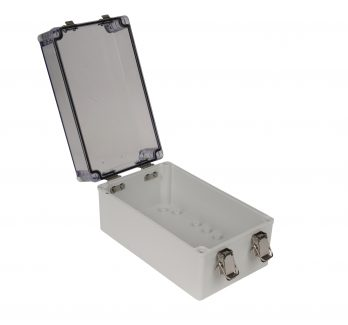 Fiberglass Box with Self-Locking Latch and Clear Cover PTH-22706-LC open