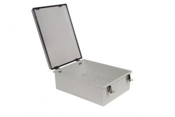 Fiberglass Box with Self-Locking Latch and Clear Cover PTH-22730-LC open
