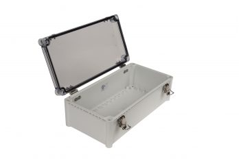 Fiberglass Box with Self-Locking Latch and Clear Cover PTH-22448-C open