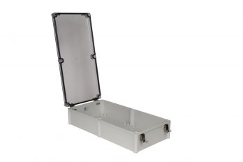 Fiberglass Box with Self-Locking Latch and Clear Cover PTH-22758-LC open