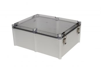 Fiberglass Box with Self-Locking Latch and Clear Cover PTH-22760-LC closed