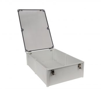 Fiberglass Box with Self-Locking Latch and Clear Cover PTH-22762-LC open