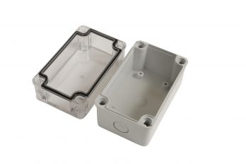 Fiberglass Box with Knockouts and Clear Cover PTK-18423-C open