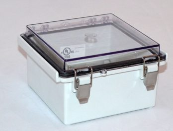 Fiberglass Box with Stainless Steel Latch and Clear Cover PTQ-11046-C closed