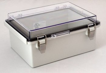 Fiberglass Box with Stainless Steel Latch and Clear Cover PTQ-11048-C closed