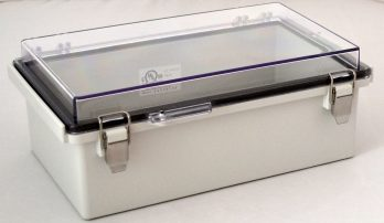Fiberglass Box with Stainless Steel Latch and Clear Cover PTQ-11050-C closed