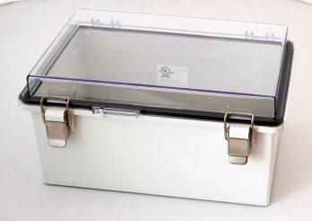 Fiberglass Box with Stainless Steel Latch and Clear Cover PTQ-11057-C closed