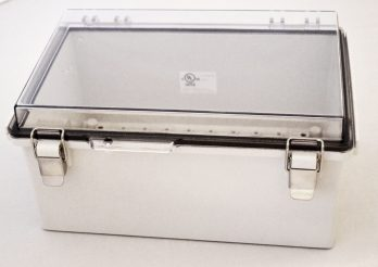 Fiberglass Box with Stainless Steel Latch and Clear Cover PTQ-11059-C closed