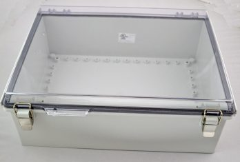 Fiberglass Box with Stainless Steel Latch and Clear Cover PTQ-11068-C closed