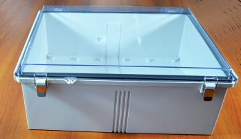 Fiberglass Box with Stainless Steel Latch and Clear Cover PTQ-11076-C closed